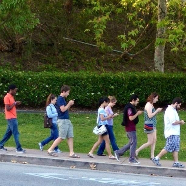 the walking dead; texting horde; texting while walking